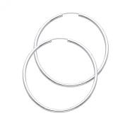 Wellingsale® Ladies 14k White Gold Polished 2mm Endless Classic Hoop Earrings