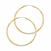 Wellingsale® Ladies 14k Yellow Gold Diamond Cut Polished Satin 1.5mm Endless Hoop Earrings