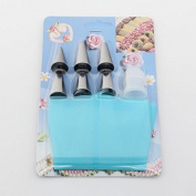 YIJIA Fondant Cake DIY Decorating Tools Set Kit 6Pcs Cake Decorating Tips Set+1 Reusable Silicone Piping Pastry Icing Bag+1 Piping Tips Coupler