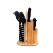 Purelife 18 Piece Carousel Knife & Kitchen Tool Set - 18 Piece[s] - High Carbon Stainless Steel - Black