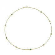 Emerald and Diamond by the Yard 9 Stations Necklace (SI2-I1, G-H) 0.41 ct tw in 14K Yellow Gold