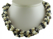 Freshwater Cultured White & Peacock Colour Pearl Choker Necklace w Sterling Silver Clasp