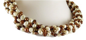 Freshwater Cultured Chocolate and White Pearl Necklace with Sterling Silver Clasp