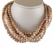 Freshwater Cultured Pink Pearl Necklace with Sterling Silver Clasp 46cm