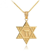 14k Yellow Gold Star of David Chai Pendant Necklace