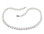 White Potato Freshwater Cultured Pearl 6.5-7mm Necklace (18 inch) in Sterling Silver
