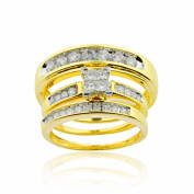 10K Yellow Gold Trio Rings Set Princess Cut and Round 3pc Set 0.95cttw
