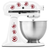 Dog Paw Prints in circles - Vinyl Decal Set for Kitchen Mixers - Burgundy