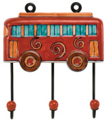 Hand Painted Ceramic Large Red Bus Wall Hook - 19cm Lx 6.13cm W