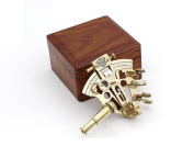 Polished Brass Kalvin & Hughes Sextant With Hard Wood Box