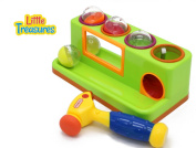 Whack Mouse Ball Play Platform with Sliding Ramp and Toy Pinball Hammer from Little Treasures with 4 Assorted Balls