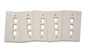 (5) Pack of 3 Port Keystone Jack Wall Plates Single Gang - White