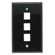 InstallerParts 3Port Keystone Wallplate Black Smooth Face