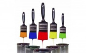 4 pack -Polyester Bristle Paint Brush Value set w/ Contoured Handles - For Any Professional Paint Job, Oil Stain, Watercolour, Art & Craft Project; Use For Professional & Amateur Projects - By Katzco