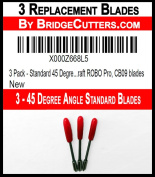 3 Pack - Standard 45 Degree Angle Replacement Cutting Blades for Craft Cutting Machines, Silhouette, Brother Scan and Cut, Cameo, Graphtec Craft ROBO Pro, CB09 blades
