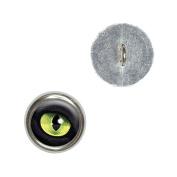 Cat Green Eye Metal Craft Sewing Novelty Buttons - Set of 4