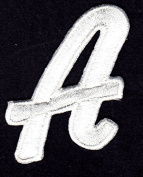 """LETTERS - White Script 5.1cm Letter """"A"""" - Iron On Embroidered Applique"""