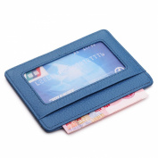 MEKU Slim Leather Wallet Credit Card Case Sleeve Front Pocket Minimalist Wallet with ID Window