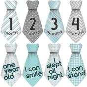"NEW! Stick'Nsnap (TM) 15 Baby Monthly Stickers Necktie - ""Happy Patterns"" (TM), Turquoise/Grey. Milestones for 12 Months +3 Bonus Milestones - Best Baby Shower Gifts!"