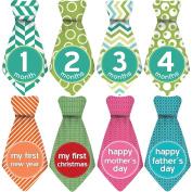 """NEW! Stick'Nsnap (TM) 30 Baby Monthly Stickers Necktie - """"Happy Patterns"""" (TM), Green/White. Milestones for 12 Months +18 Bonus Milestones - Best Baby Shower Gifts!"""