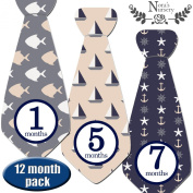 Featured Nautical Baby Monthly Stickers - Great Keepsake for Babies, Baby Boy Shower Gift Idea or Milestone Photo Prop, or - Easy to Peel, Stick, Shoot and Remove from Clothing and Onesies