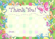 Girls Pink Butterfly Thank You Cards, Fill-In Style, 8 Pack