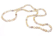 Button-shaped Freshwater Cultured Pearl Endless Necklace