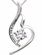 """ALOV Jewellery Sterling Silver """"mother & son forever love"""" Pendant Necklace for Birthday, Mother's day,Christmas Gift"""