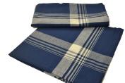Navy Blue Plaid Cotton Napkins - Set of 4