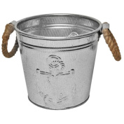 Galvanised Champagne Ice Bucket for Parties or Planter Pail with Anchor Emblem & Rope Handles