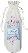 It's a Boy! - Natural Cotton Drawstring Wine Bottle Bag - Blue baby gift