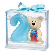 Teddy bear with number 2. 80 x 35 x 70mm. Blue