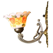 American Pastoral flowers glass painting aisle wall lamp bedside