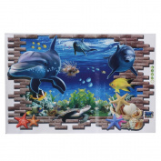 Kungfu Mall 3D Blue Sea World Dolphin Removable Wall Sticker Wallpaper Home Decor