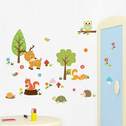 Clest F & H(R)Jungle Wild Animal Vinyl Wall Art Kids Room Bedroom Decor Living Room Decor Sofa TV Background DIY Art Decals