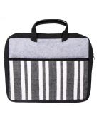 Gorgeous Laptop Bag Cotton Durrie Black Hand Block Printed Striped By Rajrang