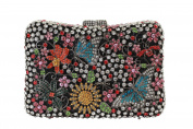 Yilongsheng Women's Bright-coloured Evening Purses with Butterfly Flowers Crystal Rhinestones