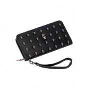 VORCOOL Skull Rivet PU Leather Wallet Long Purse Zipper Handbag