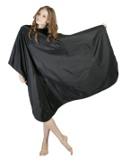 WM Beauty Professional Water Repellent Adjustable Hair Salon Cape with Snaps Closure, Black