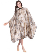 WM Beauty Leopard Print Water Repellent Adjustable Hair Cutting Cape with Snaps Closure, Cream