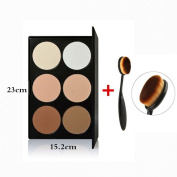 Tinabless 6 Colour Contour Palette Kit - Beauty Cosmetic Natural Colour Presses Powder - Face Contouring and Hilighting - Makeup Foundation Bronzing Powder Palette - Professional Bronzer Highlight Palette with Oval Cream Concealer Blending Blush Brushe ..