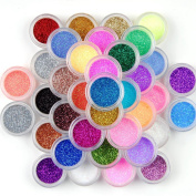 SupplyEU 45 Mix Colours Nail Art Makeup Decoration Extra Fine Glitter Dust Powder Set