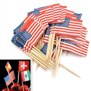 Bluelover 50Pcs Birthday Party American USA Flag Cupcake Topper