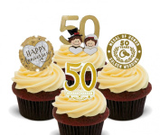 Gold Wedding 50th Anniversary Edible Cupcake Toppers - Stand-up Wafer Cake Decorations