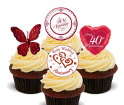 Ruby Wedding 40th Anniversary Edible Cupcake Toppers - Stand-up Wafer Cake Decorations