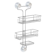 InterDesign Turn-N-Lock 3-Tier Suction Shower Caddy Organiser for Shampoo/Conditioner/Soap/Razors, Silver