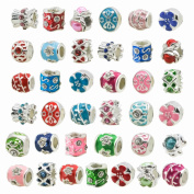 TOAOB Silver Colour Colourful Enamel Rhinestone Big Hole Spacer Beads for European Snake Chain Charm Pack of 30pcs