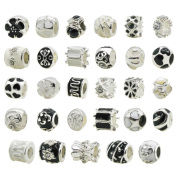 TOAOB Silver Colour Enamel Rhinestone Big Hole Spacer Beads for European Snake Chain Charm Pack of 20pcs