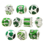 TOAOB Silver Colour Green Enamel Rhinestone Big Hole Spacer Beads for European Snake Chain Charm Pack of 1pcs