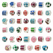 TOAOB Silver Plated Colourful Enamel Big Hole Spacer Beads for European Snake Chain Charm Pack of 30pcs